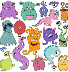 Set Of Isolated Cartoon Monsters vector image vector image