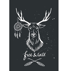 with deer and dream catcher on the chalkboard vector image vector image