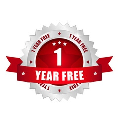 1 year free button vector