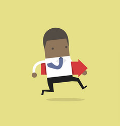 african businessman running and holding red arrow vector image