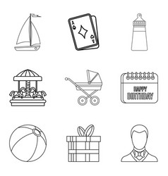 Baby carriage icons set outline style vector