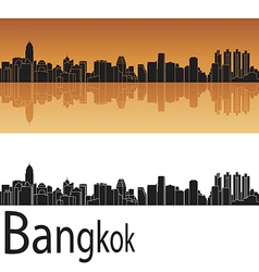 Bangkok skyline in orange background vector