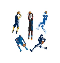 Basketball Woodcut Collection vector
