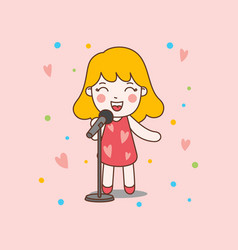 blonde cute girl sing with red dress good for vector image