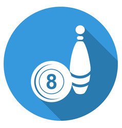bowling icon with long shadow vector image