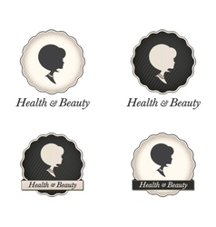 Cameo silhouette logo with scallop frame and text vector image