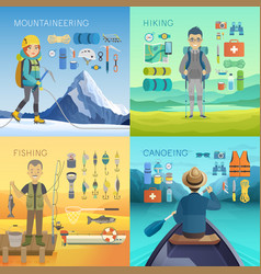 Camping hiking mountaineering fishing canoeing vector