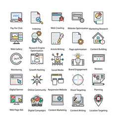 Colored icons set of internet and digital marketin vector