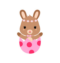 Cute cartoon bunny inside cracked easter egg vector