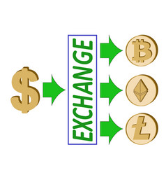 Dollar exchange with crypto currency vector