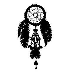 Dreamcatcher silhouette with beads and feathers vector