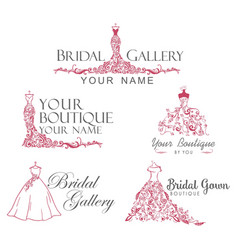 Dress boutique bridal collection logo set icon vector