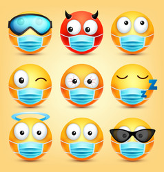 emoticons emoji collection cartoon yellow vector image