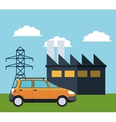 Factory and car design vector