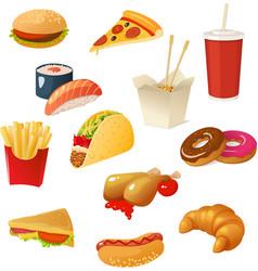 Fast food elements set vector