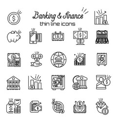 finance and money icon banking business thin vector image