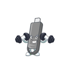 Flashdisk icon on fitness exercise trying barbells vector