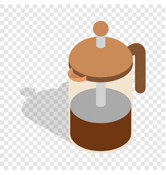 French press coffee maker isometric icon vector
