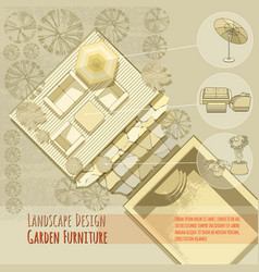 Garden design lounge chairs umbrella top view vector
