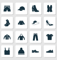 Garment icons set collection of waistcoat vector