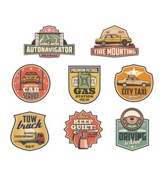 Gas station mechanic garage and car service icons vector