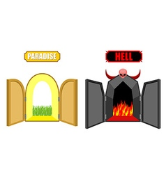 Gates of hell and paradise Entrance to Satan and vector