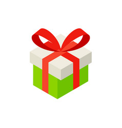 gift box with bow isometric object vector image