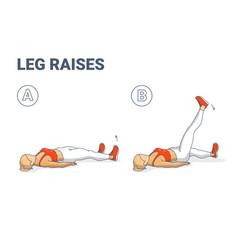 Girl leg raise home workout exercise colorful vector