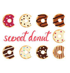 glazed colorful donuts vector image