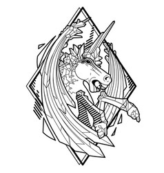Graphic demonic unicorn vector