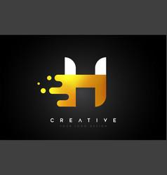 H melted golden letter logo design creative vector