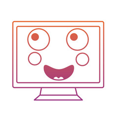 happy computer monitor kawaii icon image vector image