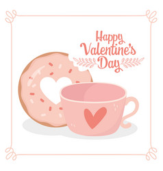 Happy valentines day sweet bite donut and coffee vector