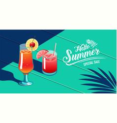 Hello summer template design tropical amp vector
