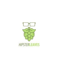 Hipster leaves logo vector