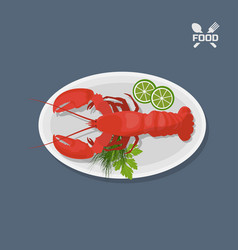 Icon of lobster with lime on a plate top view vector