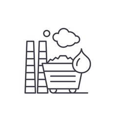 industrial pollution line icon concept industrial vector image