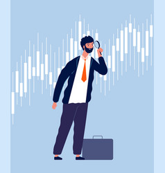 investor character businessman view threw vector image