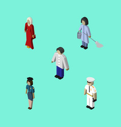 Isometric human set of policewoman seaman vector