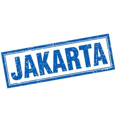 Jakarta blue square grunge stamp on white vector