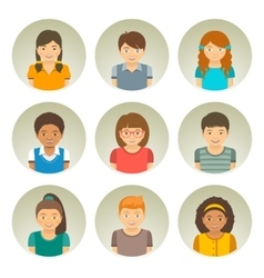 Kids different races round flat avatars vector