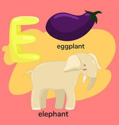 Letter e from children s alphabet vector