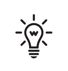 lightbulb - black icon on white background vector image