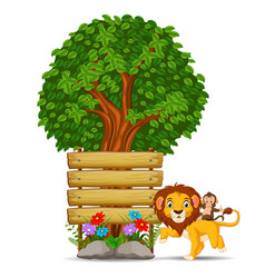 Lion in front of an empty wooden signboard vector