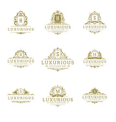 luxury logos monograms crest design templates set vector image
