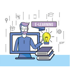 Man with education books and bulb idea with vector