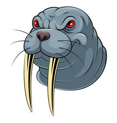 mascot head an walrus vector image