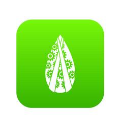 Memorial wreath icon digital green vector