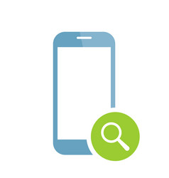 Mobile phone icon with research sign vector