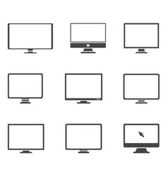 monitor icon set symbol vector image